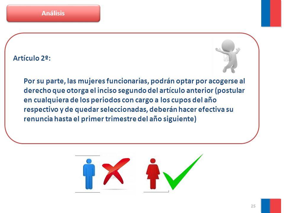 25 Análisis Artículo 2º: Por su parte, las mujeres funcionarias, podrán optar por acogerse al derecho que otorga el inciso segundo del artículo anteri