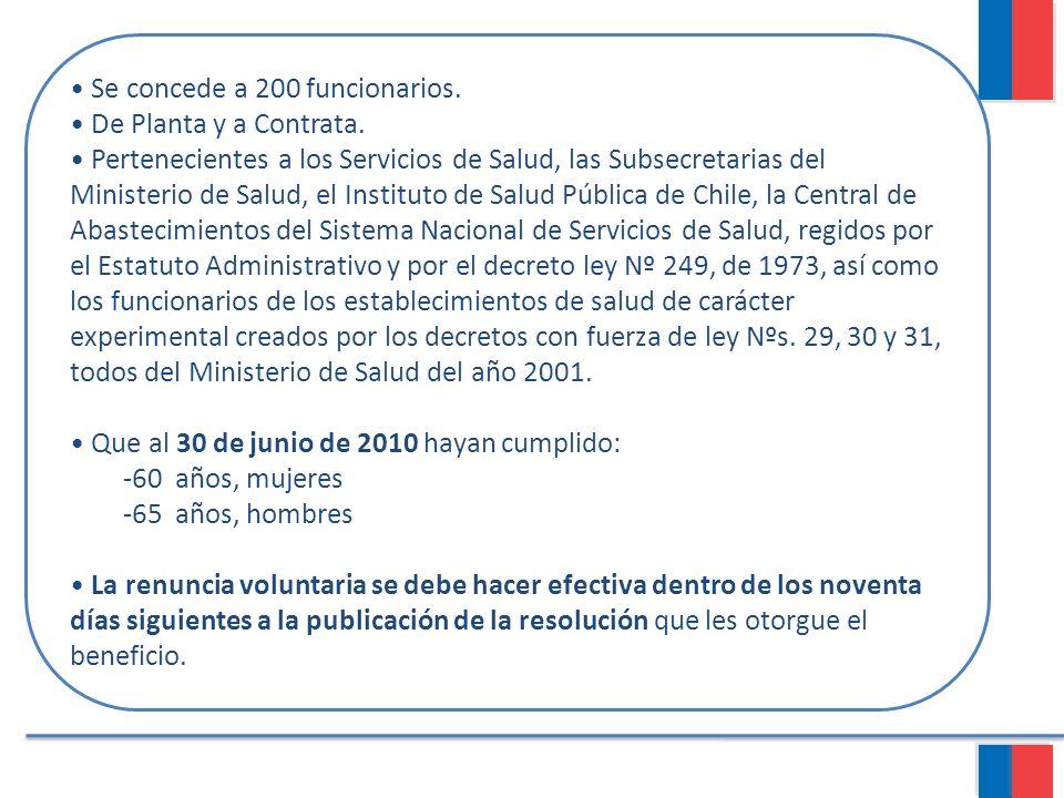 Se concede a 200 funcionarios. De Planta y a Contrata. Pertenecientes a los Servicios de Salud, las Subsecretarias del Ministerio de Salud, el Institu