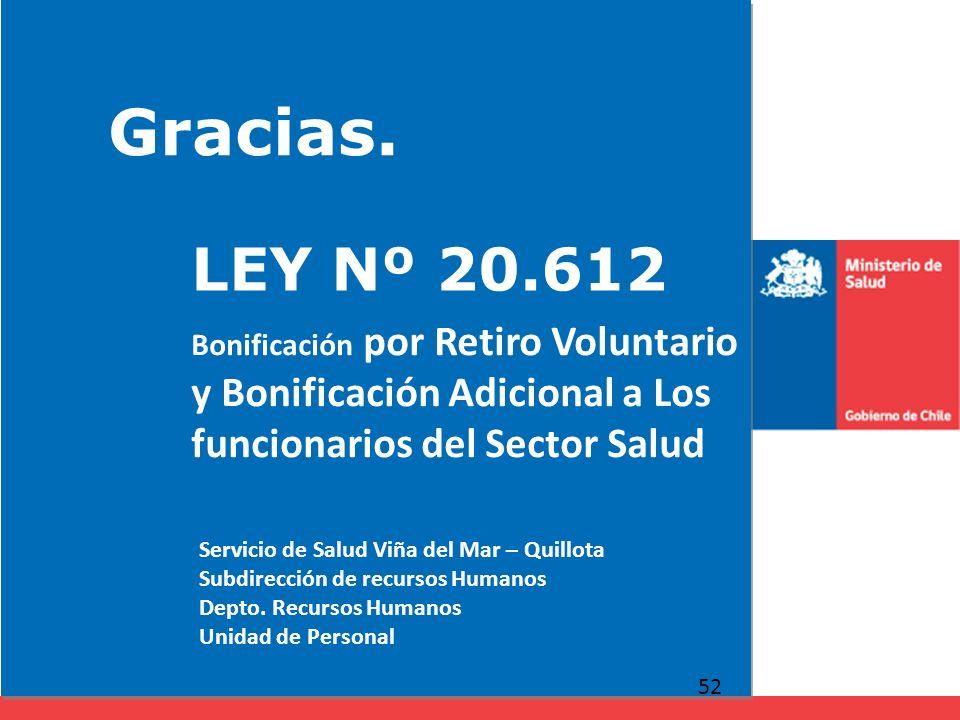 Gracias. 52 LEY Nº 20.612 Bonificación por Retiro Voluntario y Bonificación Adicional a Los funcionarios del Sector Salud Servicio de Salud Viña del M