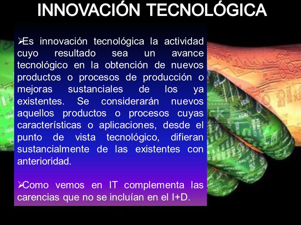 Es innovación tecnológica la actividad cuyo resultado sea un avance tecnológico en la obtención de nuevos productos o procesos de producción o mejoras