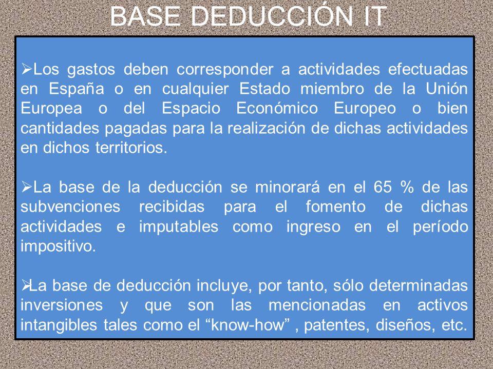 BASE DEDUCCIÓN IT Los gastos deben corresponder a actividades efectuadas en España o en cualquier Estado miembro de la Unión Europea o del Espacio Eco