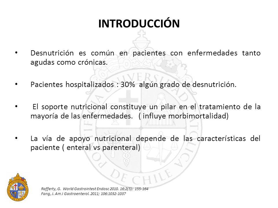 Desnutrición es común en pacientes con enfermedades tanto agudas como crónicas. Pacientes hospitalizados : 30% algún grado de desnutrición. El soporte