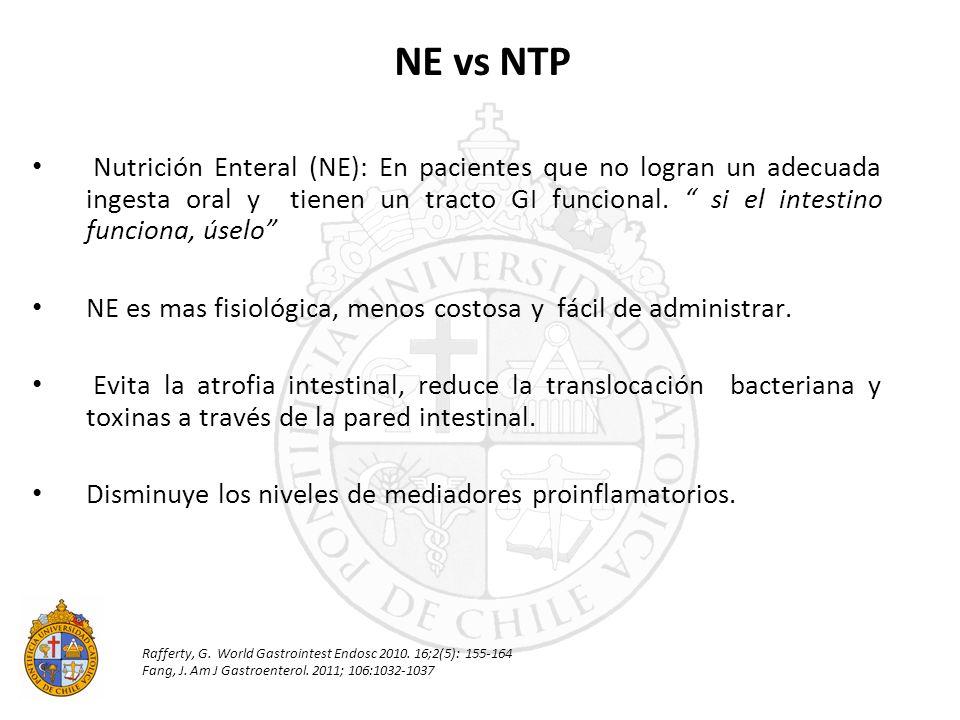 Nutrición Enteral (NE): En pacientes que no logran un adecuada ingesta oral y tienen un tracto GI funcional. si el intestino funciona, úselo NE es mas