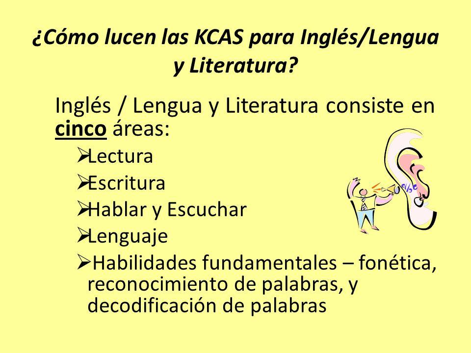 ¿Cómo lucen las KCAS para Inglés/Lengua y Literatura? Inglés / Lengua y Literatura consiste en cinco áreas: Lectura Escritura Hablar y Escuchar Lengua