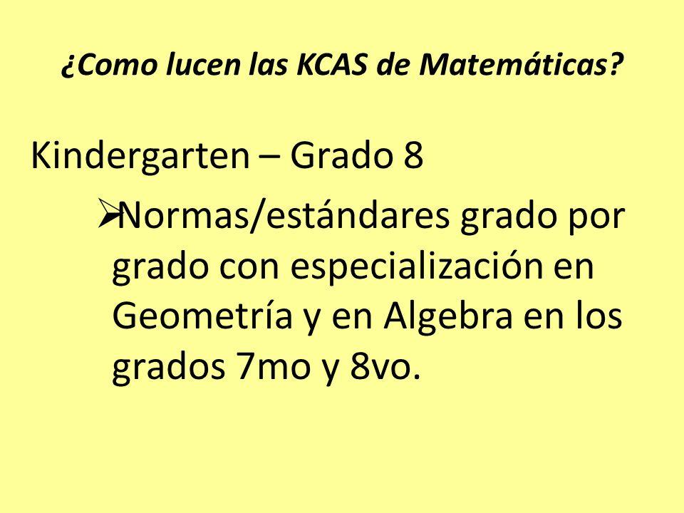 ¿Como lucen las KCAS de Matemáticas? Kindergarten – Grado 8 Normas/estándares grado por grado con especialización en Geometría y en Algebra en los gra