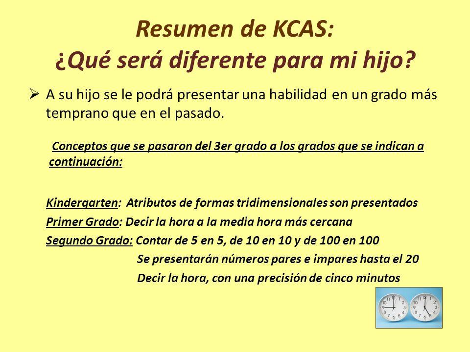Resumen de KCAS: ¿Qué será diferente para mi hijo? A su hijo se le podrá presentar una habilidad en un grado más temprano que en el pasado. Conceptos