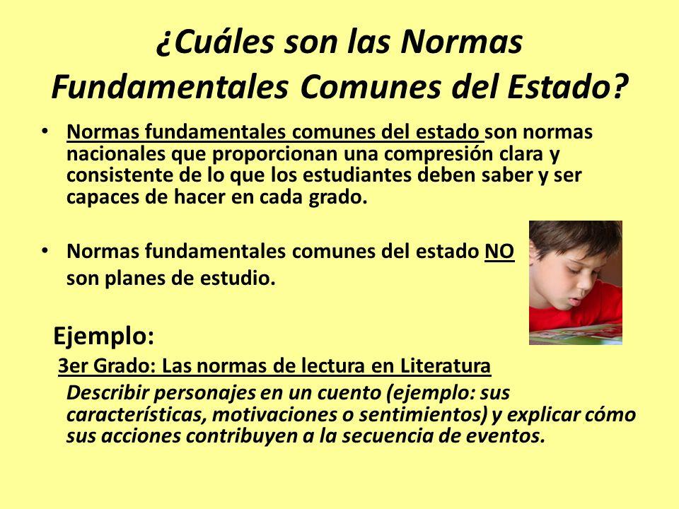 Más sobre las normas fundamentales comunes Las normas fundamentales comunes del estado se han desarrollado en Inglés/Lengua y Literatura y Matemáticas para el Kindergarten y hasta el duodécimo grado.