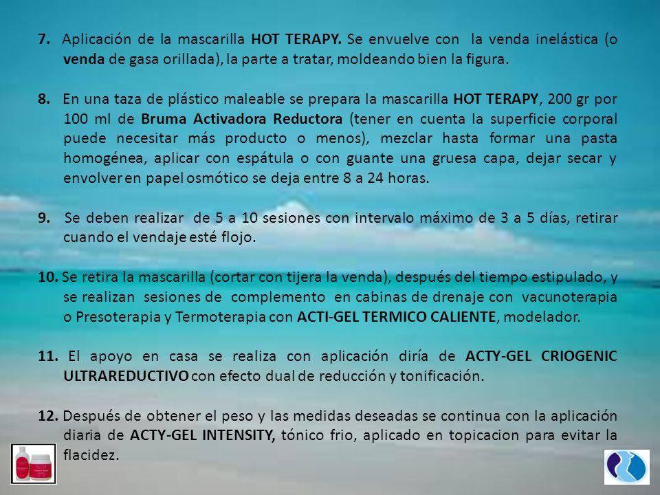 7. Aplicación de la mascarilla HOT TERAPY. Se envuelve con la venda inelástica (o venda de gasa orillada), la parte a tratar, moldeando bien la figura