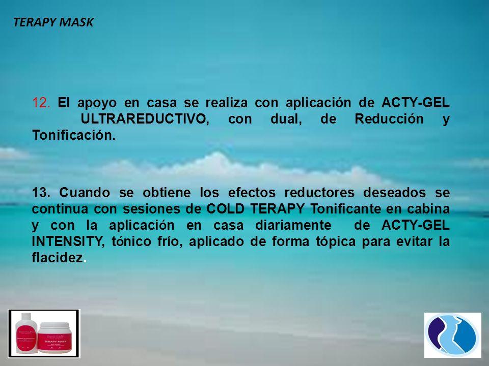12. El apoyo en casa se realiza con aplicación de ACTY-GEL ULTRAREDUCTIVO, con dual, de Reducción y Tonificación. 13. Cuando se obtiene los efectos re