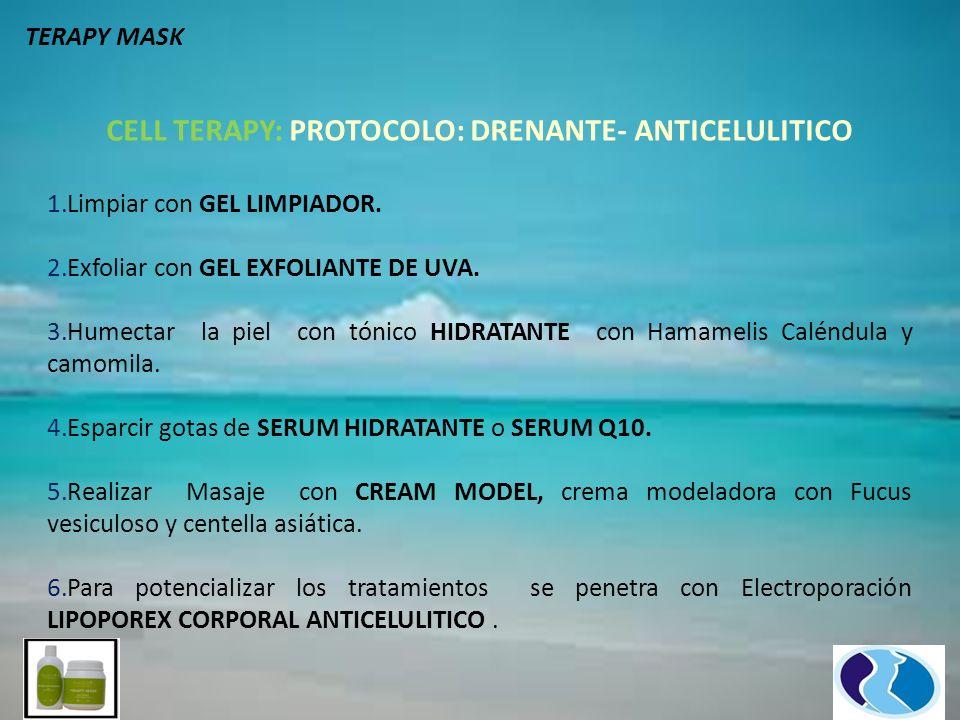 CELL TERAPY: PROTOCOLO: DRENANTE- ANTICELULITICO 1.Limpiar con GEL LIMPIADOR. 2.Exfoliar con GEL EXFOLIANTE DE UVA. 3.Humectar la piel con tónico HIDR
