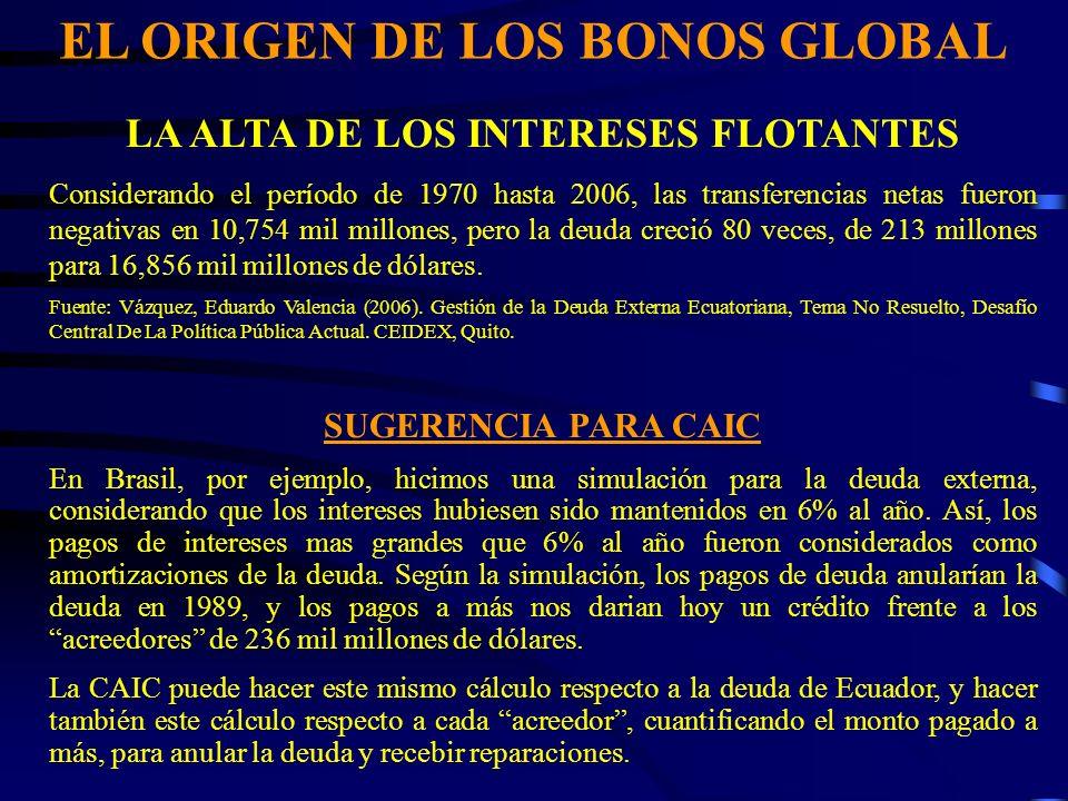 EL ORIGEN DE LOS BONOS GLOBAL LA ALTA DE LOS INTERESES FLOTANTES Considerando el período de 1970 hasta 2006, las transferencias netas fueron negativas en 10,754 mil millones, pero la deuda creció 80 veces, de 213 millones para 16,856 mil millones de dólares.