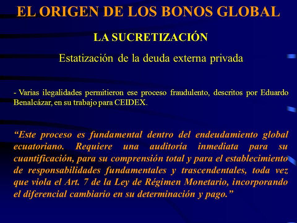 EL ORIGEN DE LOS BONOS GLOBAL LA SUCRETIZACIÓN Estatización de la deuda externa privada - Varias ilegalidades permitieron ese proceso fraudulento, descritos por Eduardo Benalcázar, en su trabajo para CEIDEX.
