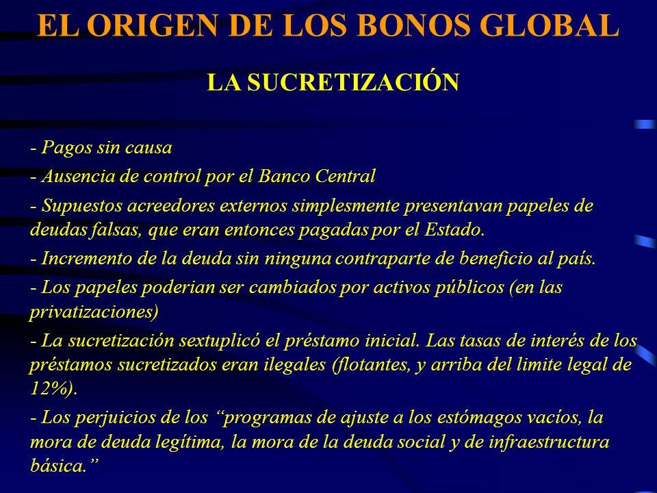 EL ORIGEN DE LOS BONOS GLOBAL LA SUCRETIZACIÓN - Pagos sin causa - Ausencia de control por el Banco Central - Supuestos acreedores externos simplesmente presentavan papeles de deudas falsas, que eran entonces pagadas por el Estado.