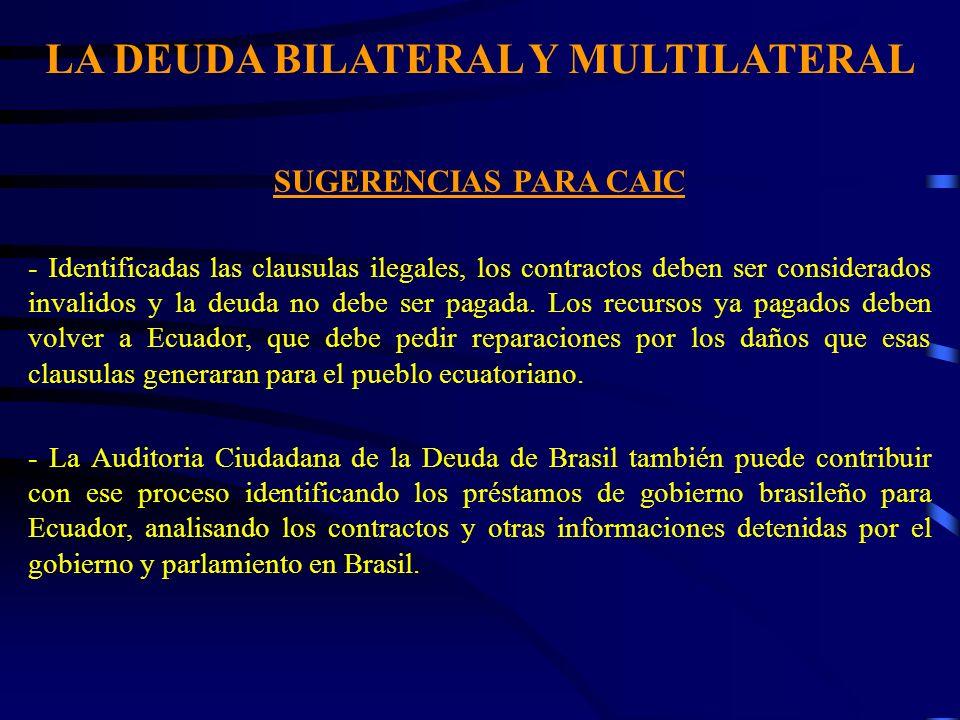 LA DEUDA BILATERAL Y MULTILATERAL SUGERENCIAS PARA CAIC - Identificadas las clausulas ilegales, los contractos deben ser considerados invalidos y la d