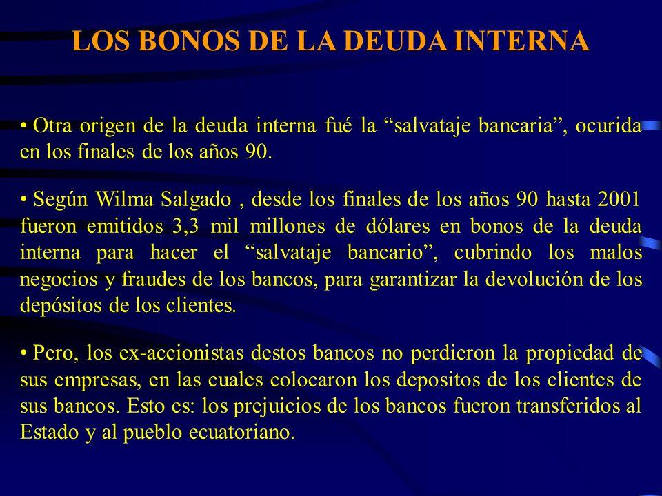 LOS BONOS DE LA DEUDA INTERNA Otra origen de la deuda interna fué la salvataje bancaria, ocurida en los finales de los años 90. Según Wilma Salgado, d