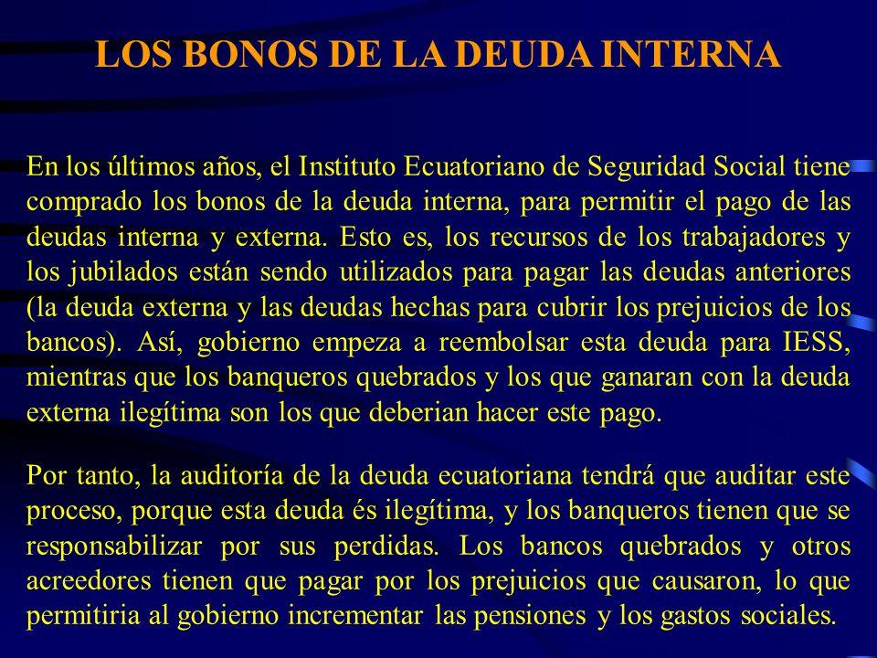 LOS BONOS DE LA DEUDA INTERNA En los últimos años, el Instituto Ecuatoriano de Seguridad Social tiene comprado los bonos de la deuda interna, para permitir el pago de las deudas interna y externa.