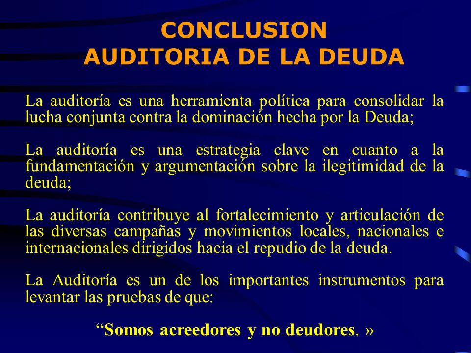 La auditoría es una herramienta política para consolidar la lucha conjunta contra la dominación hecha por la Deuda; La auditoría es una estrategia cla