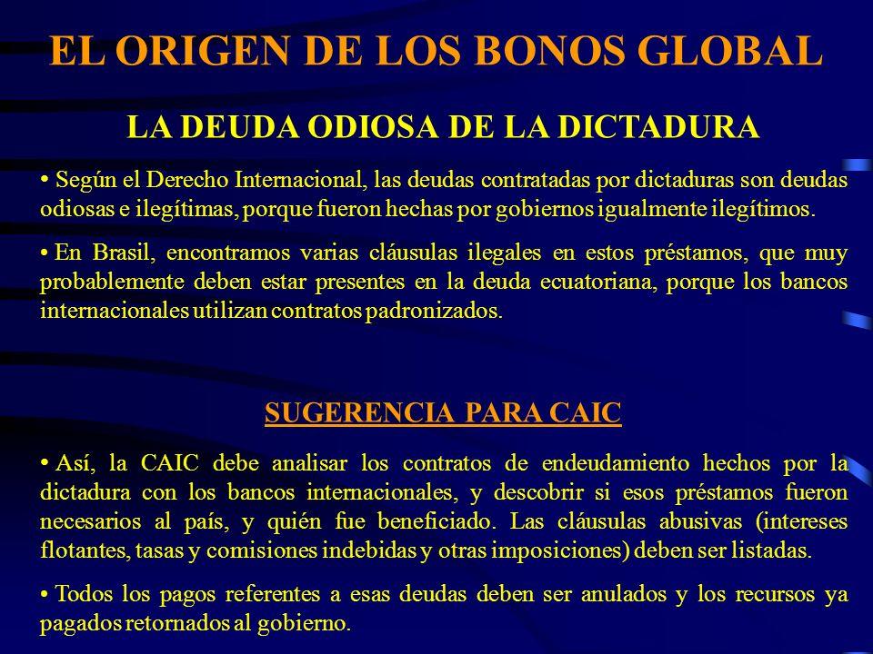 EL ORIGEN DE LOS BONOS GLOBAL LA DEUDA ODIOSA DE LA DICTADURA Según el Derecho Internacional, las deudas contratadas por dictaduras son deudas odiosas