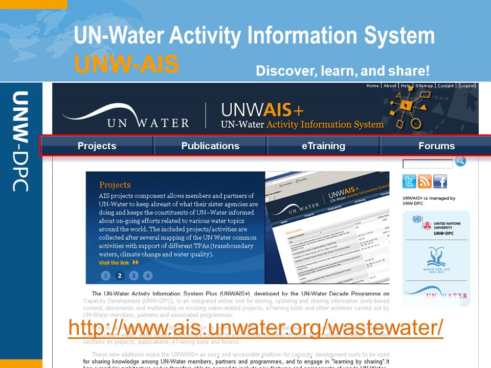 http://www.ais.unwater.org/wastewater/ Discover, learn, and share.