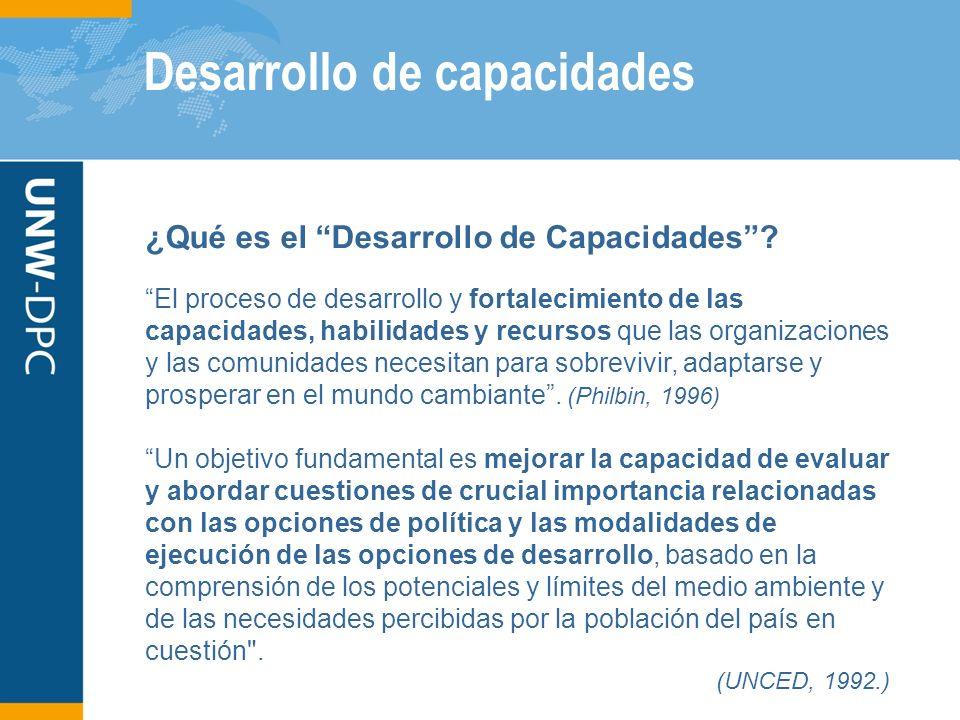 Desarrollo de capacidades ¿Qué es el Desarrollo de Capacidades? El proceso de desarrollo y fortalecimiento de las capacidades, habilidades y recursos