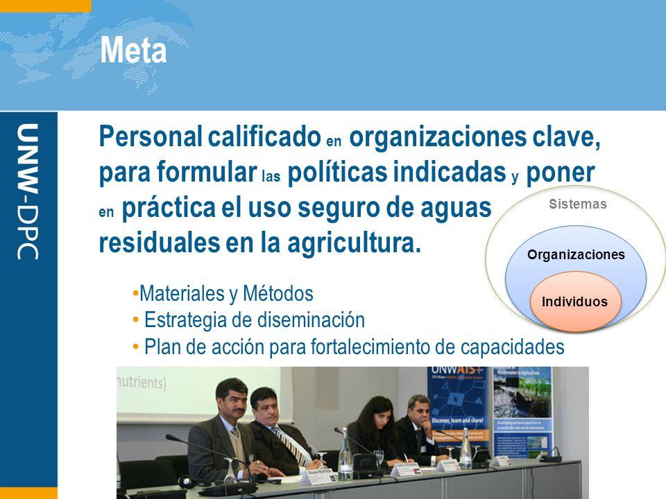 Meta Personal calificado en organizaciones clave, para formular las políticas indicadas y poner en práctica el uso seguro de aguas residuales en la agricultura.