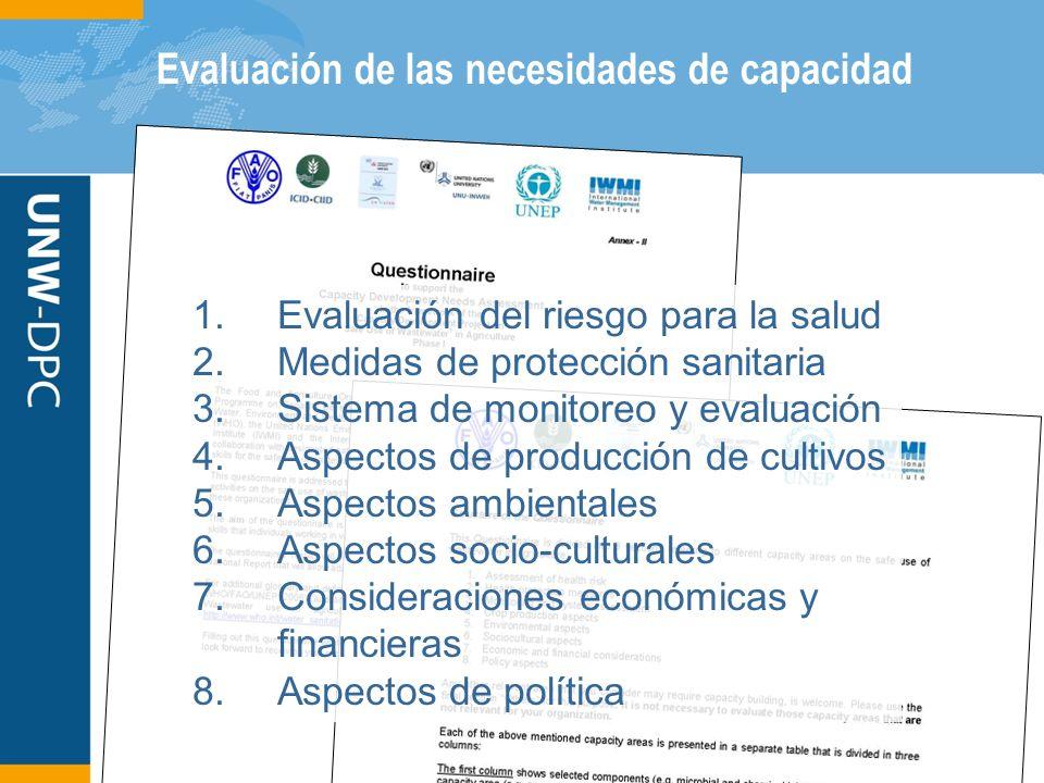 Evaluación de las necesidades de capacidad 1.Evaluación del riesgo para la salud 2.Medidas de protección sanitaria 3.Sistema de monitoreo y evaluación 4.Aspectos de producción de cultivos 5.Aspectos ambientales 6.Aspectos socio-culturales 7.Consideraciones económicas y financieras 8.Aspectos de política