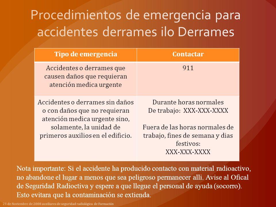 Tipo de emergenciaContactar Accidentes o derrames que causen daños que requieran atención medica urgente 911 Accidentes o derrames sin daños o con dañ