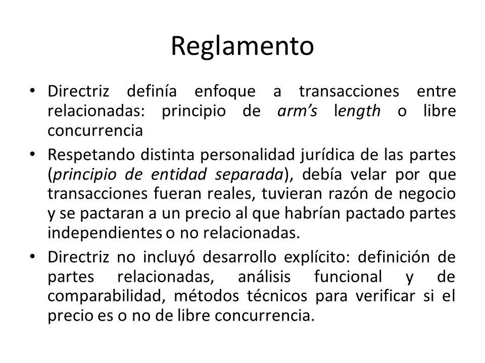 Reglamento Directriz definía enfoque a transacciones entre relacionadas: principio de arms length o libre concurrencia Respetando distinta personalida