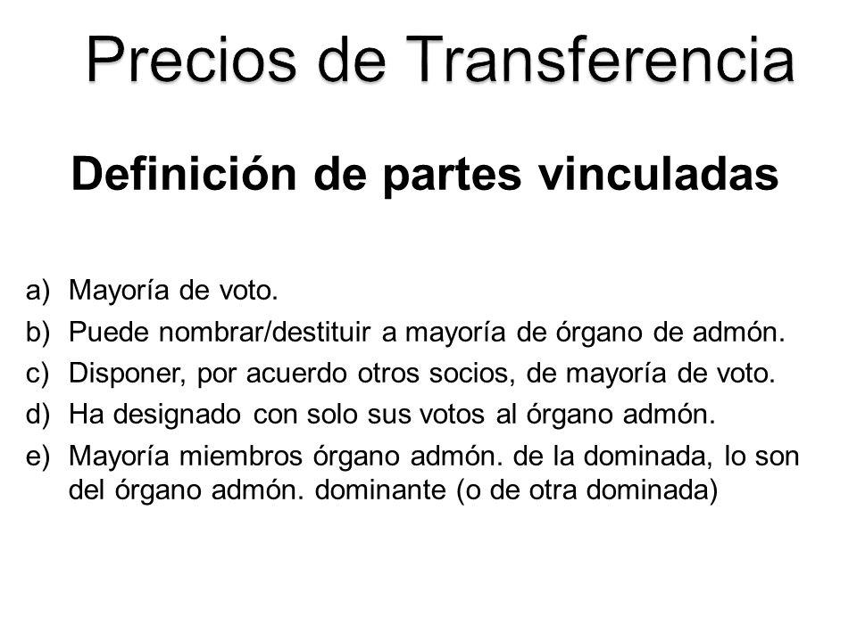 Definición de partes vinculadas a)Mayoría de voto. b)Puede nombrar/destituir a mayoría de órgano de admón. c)Disponer, por acuerdo otros socios, de ma