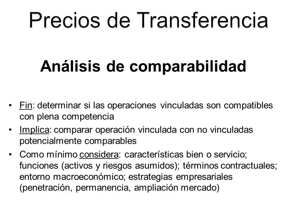 Análisis de comparabilidad Identificación y análisis de transacciones comparables internas (vinculada-independiente) y externas (independientes) Operación no vinculada es comparable a vinculada, si: Ninguna de las diferencias afecta precio/margen de plena competencia.