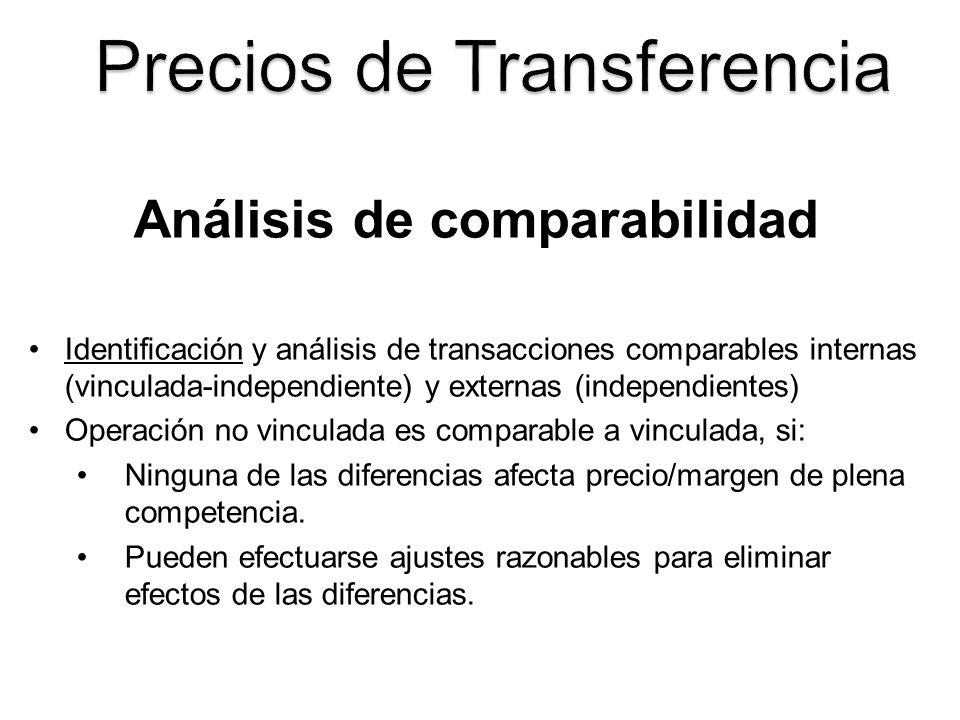 Análisis de comparabilidad Identificación y análisis de transacciones comparables internas (vinculada-independiente) y externas (independientes) Opera