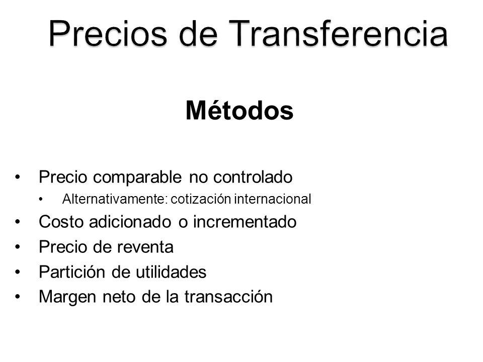 Métodos Precio comparable no controlado Alternativamente: cotización internacional Costo adicionado o incrementado Precio de reventa Partición de util