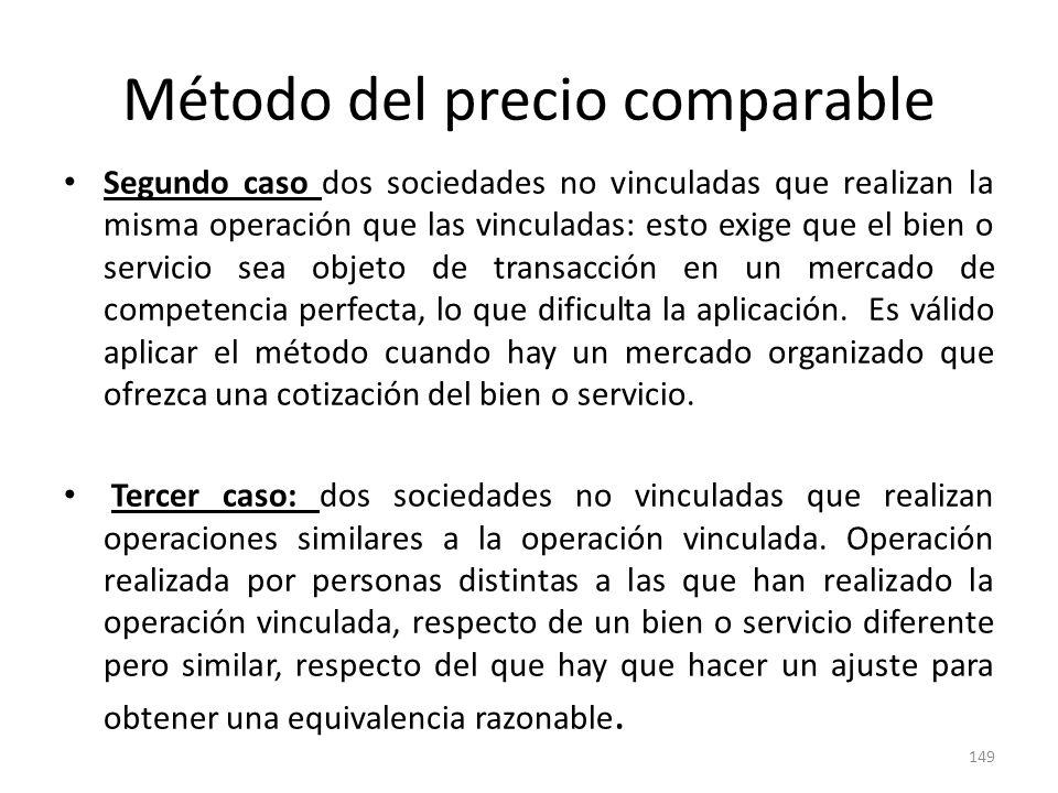 Método del precio comparable Segundo caso dos sociedades no vinculadas que realizan la misma operación que las vinculadas: esto exige que el bien o se