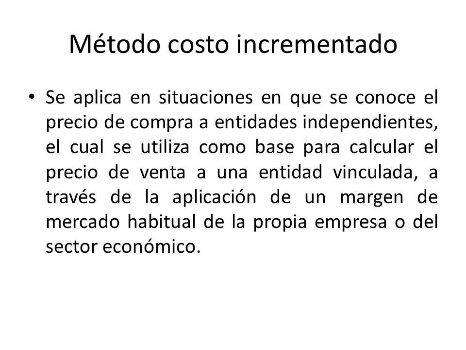 Método del precio de reventa Se aplica en situaciones en que se conoce el precio de venta a independientes, el cual se utiliza como base para minorar el margen de mercado habitual de la propia empresa o del sector.