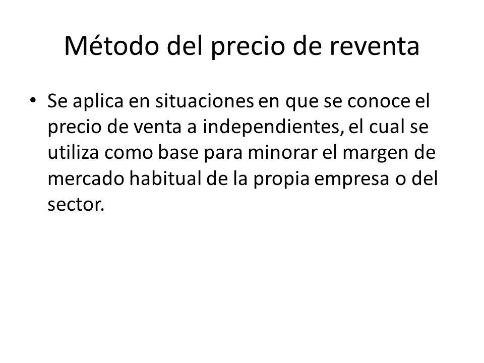 Método del precio de reventa Se aplica en situaciones en que se conoce el precio de venta a independientes, el cual se utiliza como base para minorar