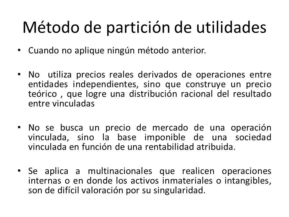 Método de partición de utilidades Cuando no aplique ningún método anterior. No utiliza precios reales derivados de operaciones entre entidades indepen
