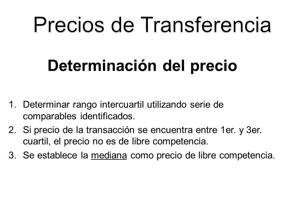 Determinación del precio 1.Determinar rango intercuartil utilizando serie de comparables identificados. 2.Si precio de la transacción se encuentra ent