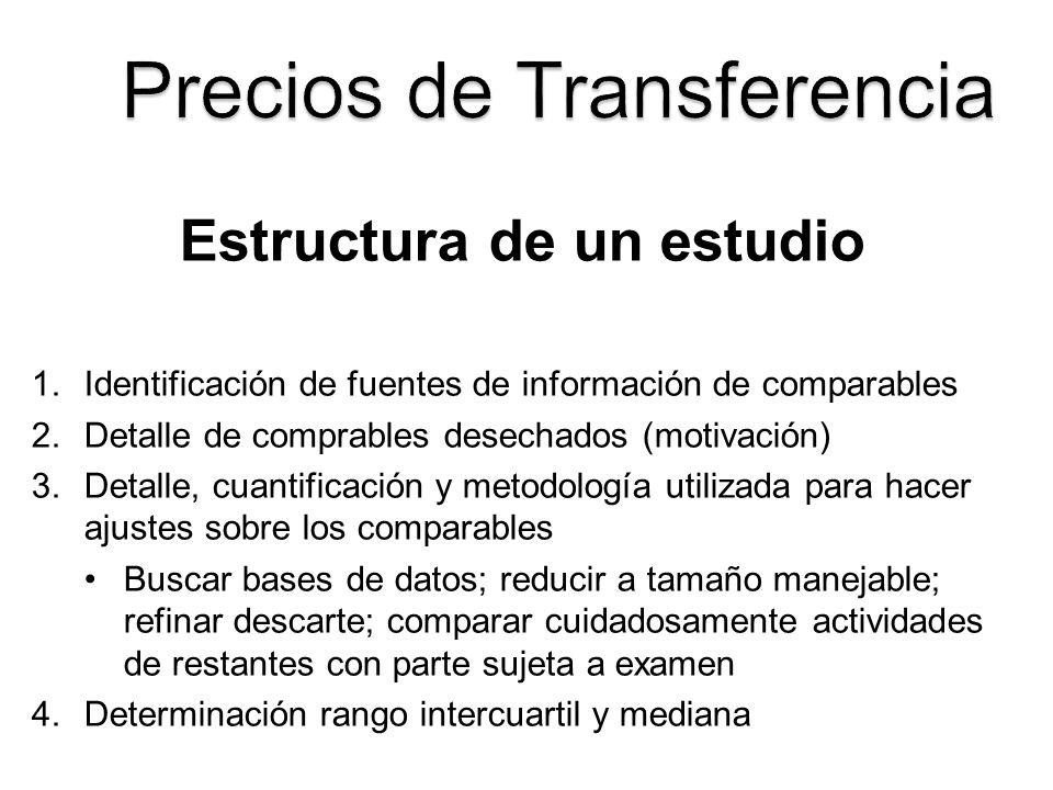Estructura de un estudio 1.Identificación de fuentes de información de comparables 2.Detalle de comprables desechados (motivación) 3.Detalle, cuantifi