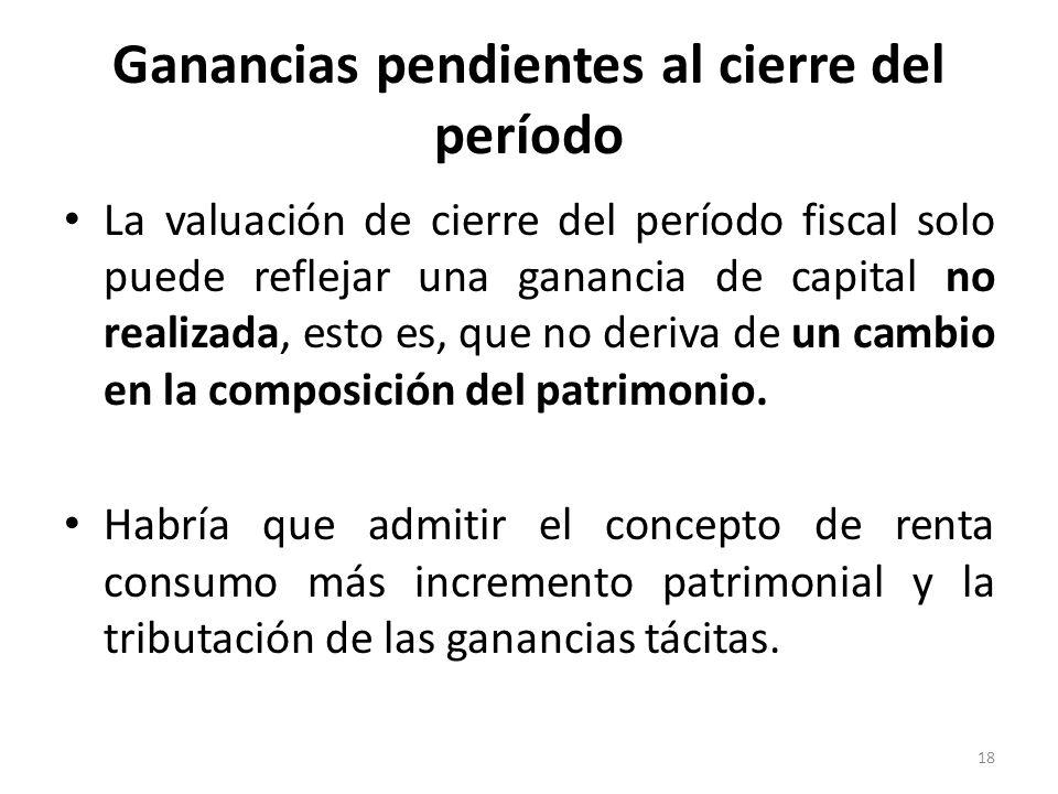 Ganancias pendientes al cierre del período La valuación de cierre del período fiscal solo puede reflejar una ganancia de capital no realizada, esto es
