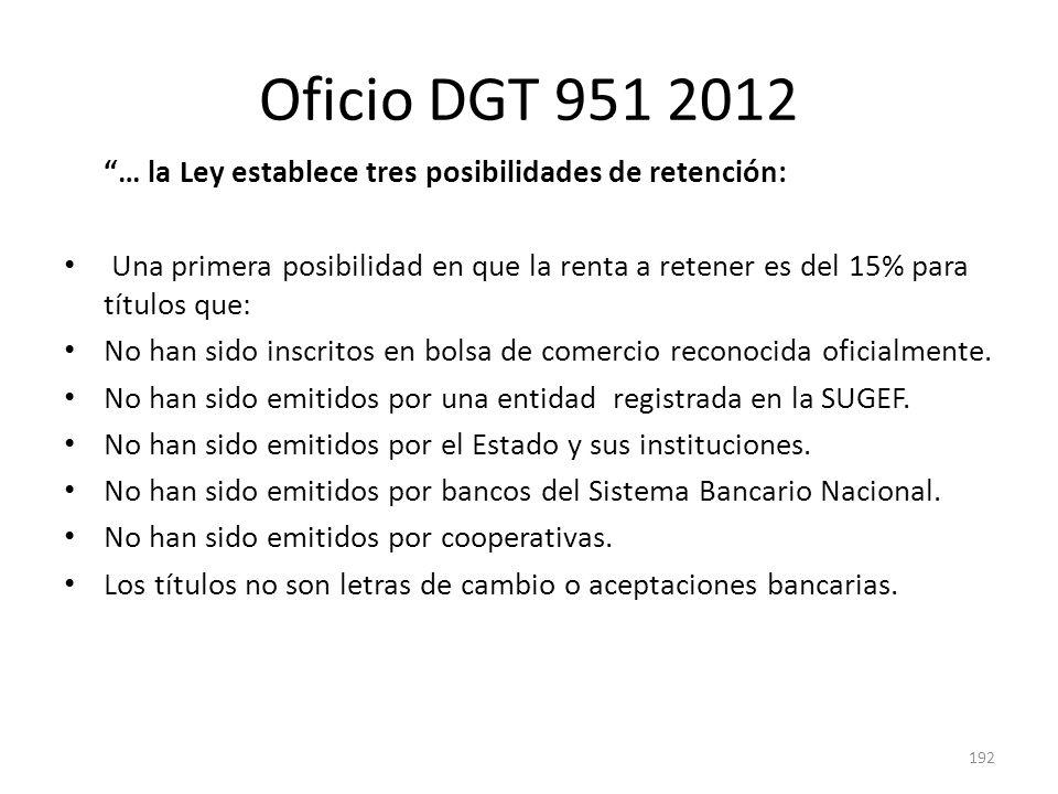 Oficio DGT 951 2012 … la Ley establece tres posibilidades de retención: Una primera posibilidad en que la renta a retener es del 15% para títulos que: