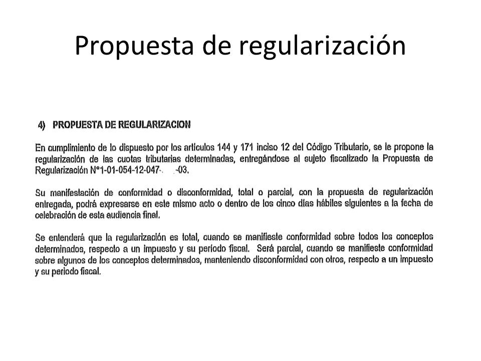 Propuesta de regularización