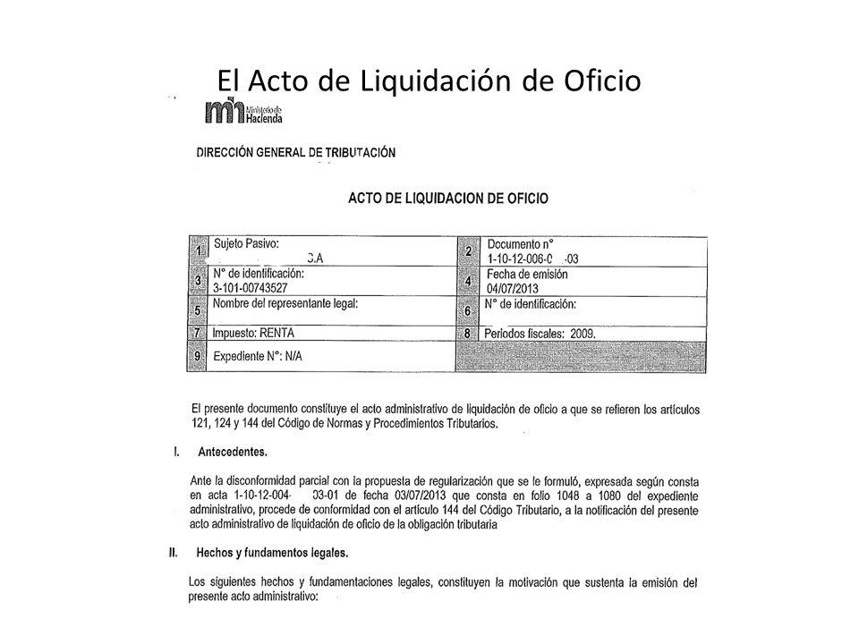 El Acto de Liquidación de Oficio