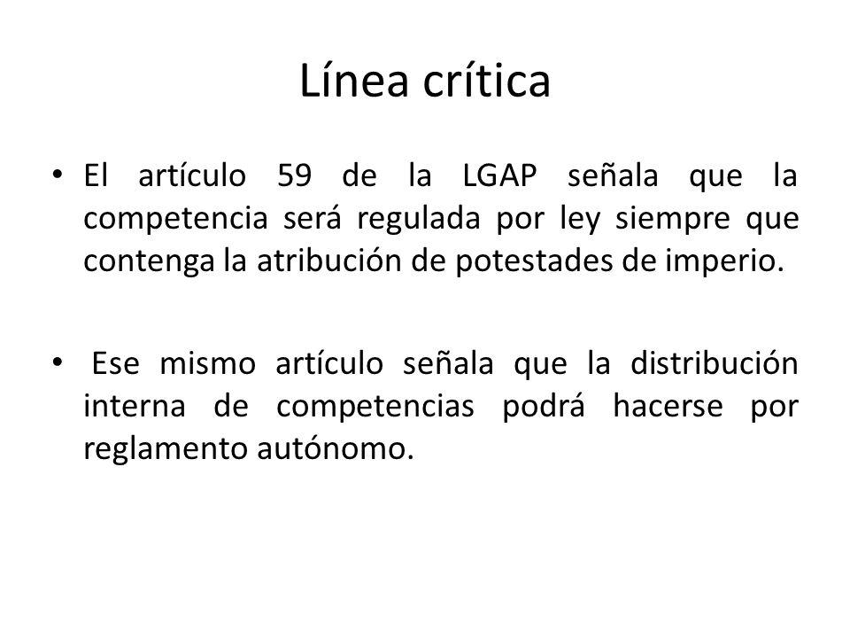 Línea crítica El artículo 59 de la LGAP señala que la competencia será regulada por ley siempre que contenga la atribución de potestades de imperio. E