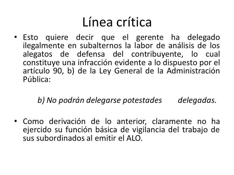Línea crítica Esto quiere decir que el gerente ha delegado ilegalmente en subalternos la labor de análisis de los alegatos de defensa del contribuyent