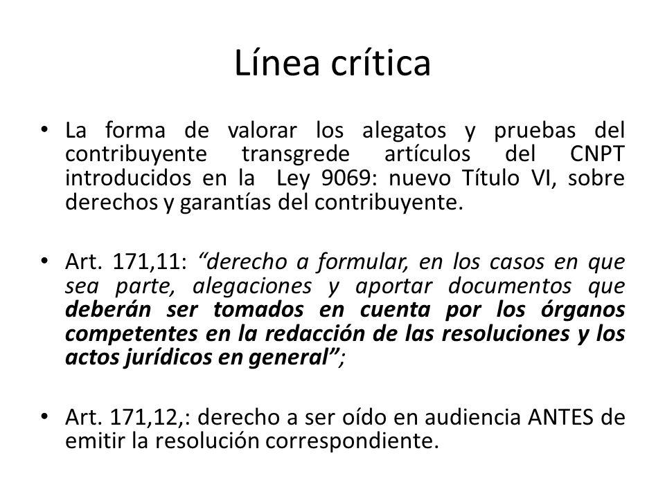 Línea crítica La forma de valorar los alegatos y pruebas del contribuyente transgrede artículos del CNPT introducidos en la Ley 9069: nuevo Título VI,