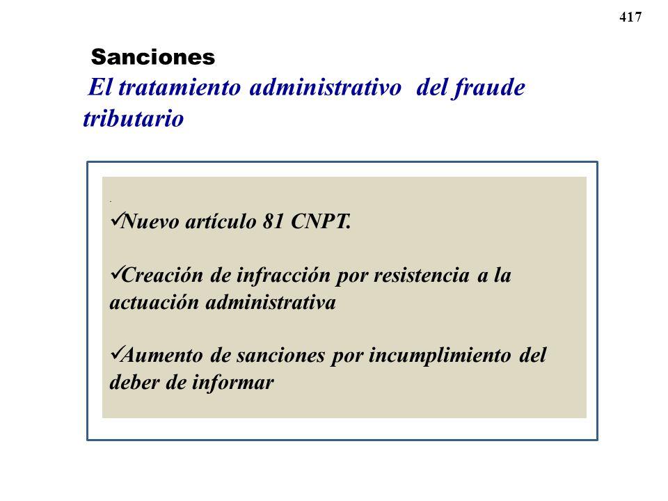 . Nuevo artículo 81 CNPT. Creación de infracción por resistencia a la actuación administrativa Aumento de sanciones por incumplimiento del deber de in