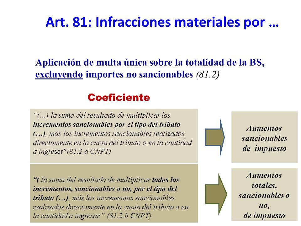 Aumentos totales, sancionables o no, de impuesto (…) la suma del resultado de multiplicar los incrementos sancionables por el tipo del tributo (…), má