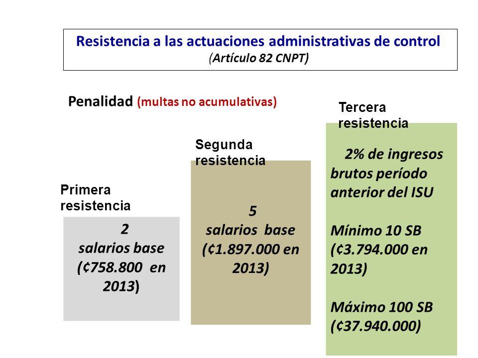 Penalidad (multas no acumulativas) Resistencia a las actuaciones administrativas de control (Artículo 82 CNPT) 2 salarios base (¢758.800 en 2013) 5 sa
