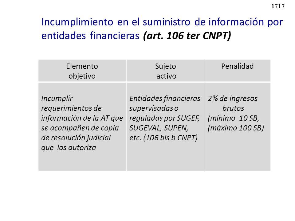 Elemento objetivo Sujeto activo Penalidad Incumplir requerimientos de información de la AT que se acompañen de copia de resolución judicial que los au