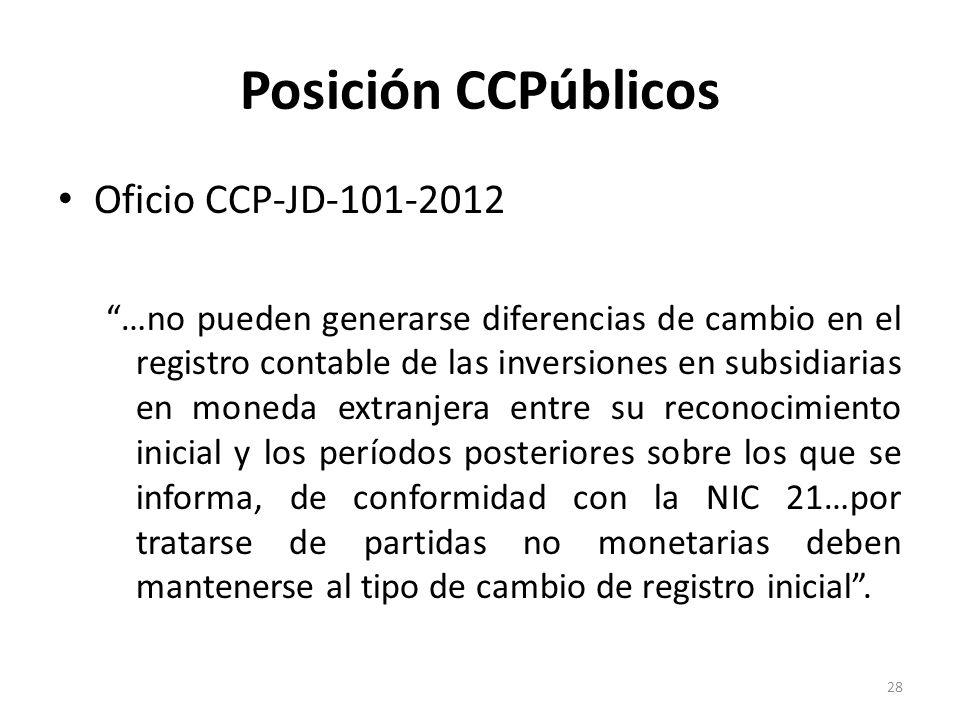 Posición CCPúblicos Oficio CCP-JD-101-2012 …no pueden generarse diferencias de cambio en el registro contable de las inversiones en subsidiarias en mo